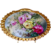 SOLD Limoges Gorgeous Gold Framed Porcelain Plaque/Wall Art with Exquisite Romantic Red, Pink