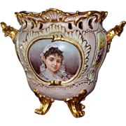 SOLD Limoges Fine Reticulated Footed Portrait Jardiniere/Vase/Planter with Roses and Raised En