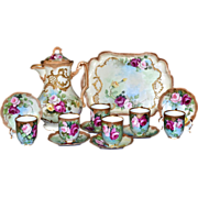 SOLD Limoges Beautiful Chocolate Set Covered in Red, Yellow and Pink Roses: Chocolate Pot, Six