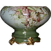 Limoges Artist Signed E. Miler Rare Shaped Grape Punch Bowl Decorated Inside With Birds Sitting on Green & Gold Plinth