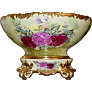 Limoges Stunning Punch Bowl with Pink and Dark Ruby Red Roses with Matching Plinth