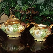 Ginori Creamer and Sugar with Limoges Styled Red and Yellow Roses and Gold