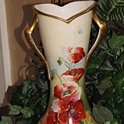 Incredible Signed Limoges Rare Corset Mold Vase with Vibrant Orange Poppies