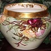 Limoges Jardiniere/Vase/Planter with Red/Yellow/Pink Roses Gold Rim and Blue Enameling