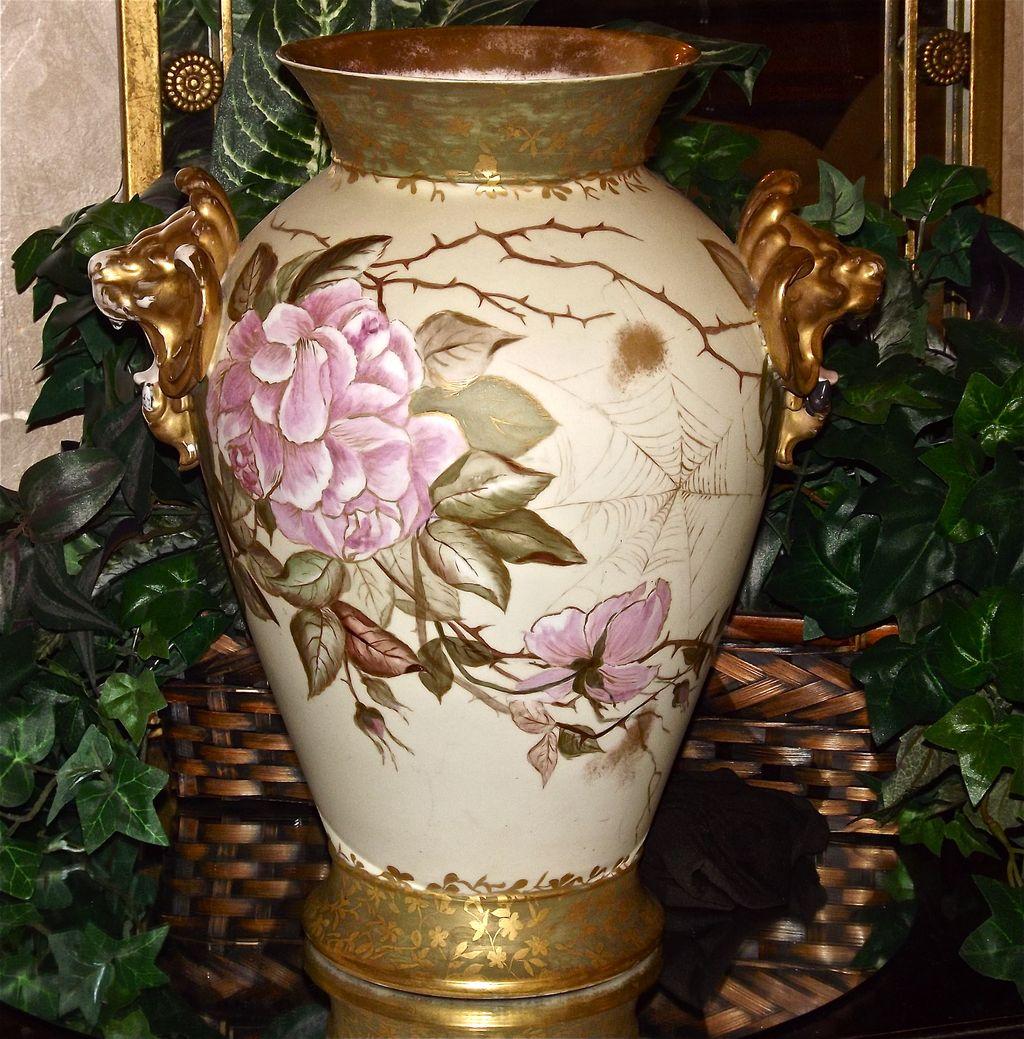 Huge Rare Limoges Vase Lion Handles Spider Webs and Pink Roses Outlined in Gold