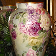Limoges HUGE Signed Vase Filled with Pink/Red/White Roses and Purple Lilacs and Delightful ...