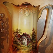 Prussia Ribbon & Jewel Mold Pitcher with Mill Scene