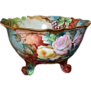 SOLD Limoges Phenomenal Huge Footed Signed Punch Bowl Pink/Yellow Roses and Purple Grapes