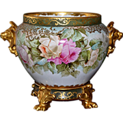 Limoges Gold Lion Handled Jardiniere Pink/Yellow/Apricot/Lilac Roses with Decorated Matching .