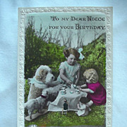 SOLD Birthday Rppc Postcard To My Dear Niece Girl Having Tea Party With Dogs And Dolls - Red T