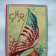 GAR Patriotic Postcard With Flag And Drum