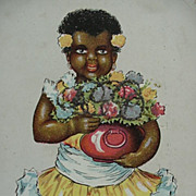 Black Americana Best Birthday Wishes Postcard Girl Holding Flowers