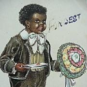 Black Americana Fondest Wishes Postcard Boy Holding Flower Bouquet