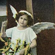 Christmas Angel Postcard Girl Dressed As An Angel And Holding Christmas Tree