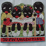 SALE Black Americana To My Valentine Story Booklet Card 1930s-40s
