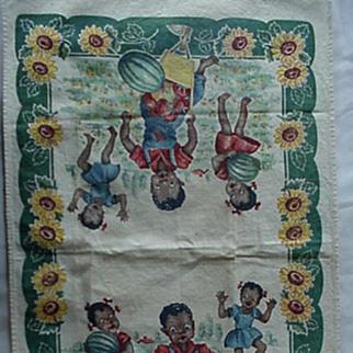 SALE Black Americana Dish Towel Kids In The Watermelon Patch 1940's