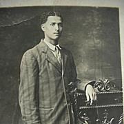 Black Americana RPPC Postcard Man Posing By Ornate Chair