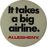 Allegheny Airlines Advertising Clip On Button