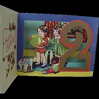 SALE Black Americana Golliwog 3-D Birthday Card