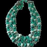 Coro Three Strand Beaded Necklace