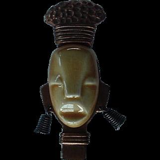 SALE Elzac Copper Ceramic Tribal Face Mask Pin Brooch 1940s