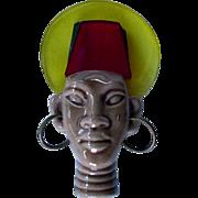 Black Americana Elzac Victim Of Fashion Tribal Chief Pin Brooch