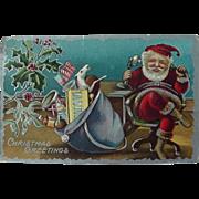 Santa On Phone Christmas Postcard Bag Full Of Toys American Flag