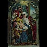 Nativity Scene Christmas Postcard Embossed Three Kings