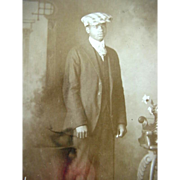 Black Americana Rppc Real Photo Postcard Man Posing With Cap Horwich Bros Postal Studio Califo