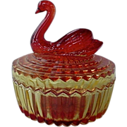 Amberina Vanity Powder Jar With Swan On Top By Jeanette Glass