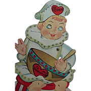 SALE Vintage Mechanical Valentine Card Made In USA Girl Stirring Her Bowl Of Batter Made In US