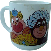 Arcopal France Milk Glass Coffee Mug Cup Black American And White Clown Design