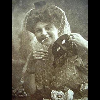 Edwardian Halloween Postcard 1909 Lady Holding Mask And Glass