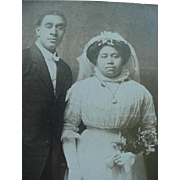 SALE Black Americana Bride And Groom Wedding Photo Cabinet Card Late 1890's Arkansas City ...