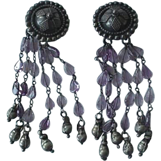 Amethyst Color Glass Bead 925 Silver Clip On Earrings