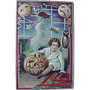 Halloween Postcard With Witch Coming Out Of JOL And Boy Sitting Beside