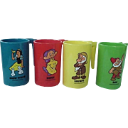 SALE PENDING Walt Disney Snow White And Dwarfs Free Advertising Premium Mug Lot of 4 Doc Dopey