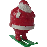Rosbros Santa On Skis Candy Container 1950s