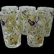 Hazel Atlas Cold Painted Drinking Barware Glasses Musical Instrument Motif 1950s