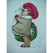 SOLD Jolly Times Be Yours This Christmas Postcard Girl Holding Presents And Standing By Holly