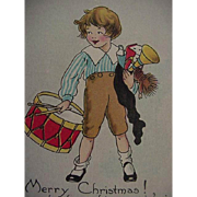 Merry Christmas Postcard Boy With Drum In One Hand And Toys In The Other By ...