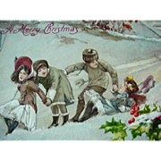 Germany Incised Christmas Postcard Kids Walking Down Hill In Snow And One Girl Has Fallen