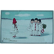 Stecher Lith Christmas Postcard No 401A A Joyous Incised Christmas