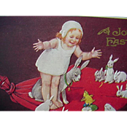 A Joyous Easter Girl Standing On Blanket With Rabbits And Chick