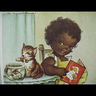 Black Americana Postcard Girl Reading Cat On  Table