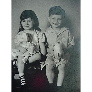 Rppc Real Photo Girl Holding Doll And Boy Holding Stuff Toy