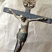 SOLD Antique Hand Carved Crucifix 19th Century