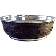 SOLD Early 19th Century Chinese Carved Coconut Shell Bowl Lined with Silver