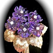 SALE Fabulous! Final Markdown! 18K Gold Carved Amethyst Diamond Flower Bouquet Pin