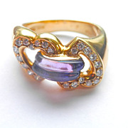 SALE Stunning! 18K Gold Designer Amethyst-Wrapped Diamond Double Heart Ring~9.3 grams!